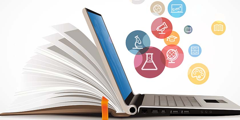 Information sources represented by a laptop, book, and icons representing different topics in science