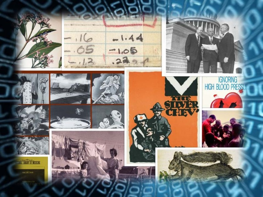 An image montage reflecting the wide range of topics and eras covered by HMD's collection.