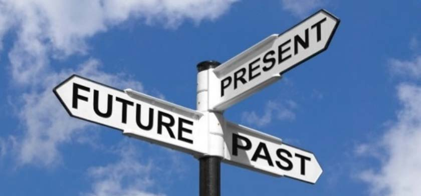 "Street signs labeled ""Past,"" ""Present,"" and ""Future"" each point in different directions"