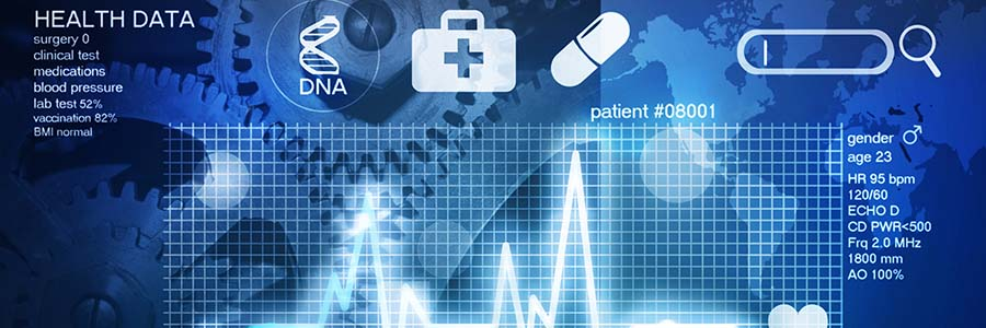 A fictionalized electronic health record showing basic patient data like heart rate, blood pressure, and test results.