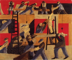 Busy workmen on an active construction site, painted in browns, reds and blues.