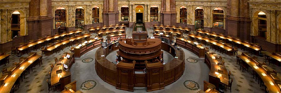 The ornate and impressive main reading room at the Library of Congress