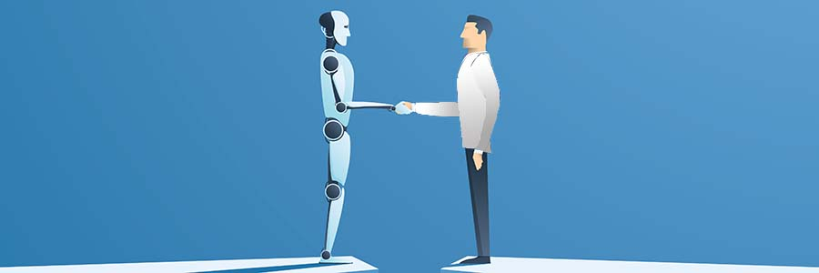vector graphic of a humannoid robot shaking hands with a doctor across a narrow divide