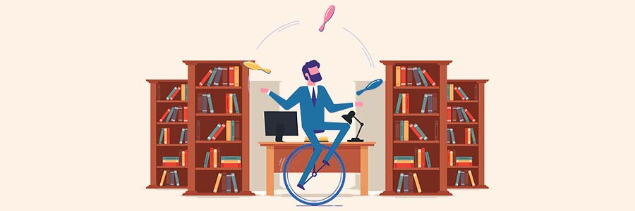 cartoon of a juggling man riding a unicycle inside a library