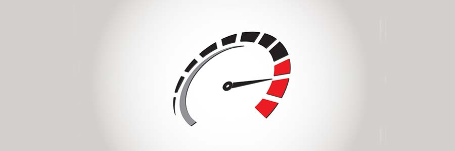 basic graphic of a speedometer registering a high rate of speed