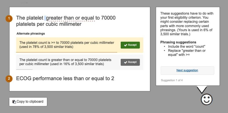 screen shot from within the eligibility criteria normalizer showing alternate phrasings for a sample criterio
