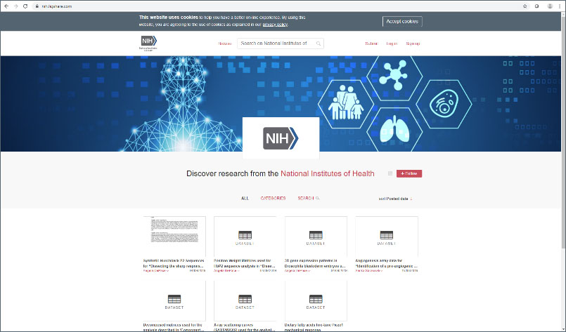screenshot of NIH Figshare homepage
