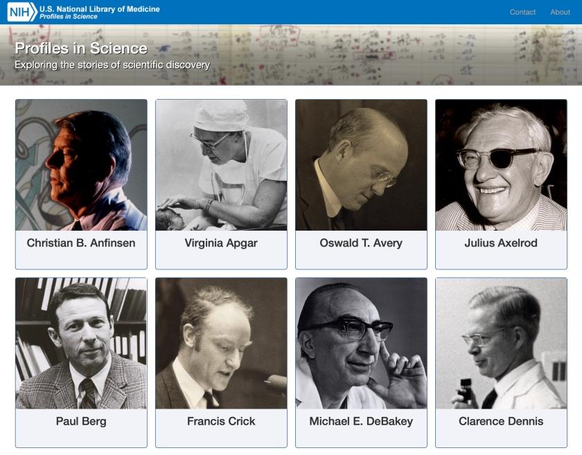 Screen shot of NLM Profiles in Science website
