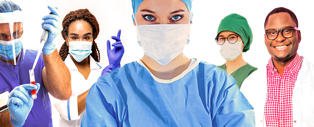 Five different type of nurse. Four are wearing face mask and one is not.